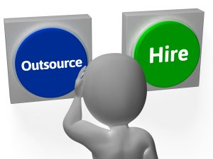 Outsource Hire Buttons Showing Subcontracting Or Freelancing